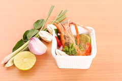 Thai cuisine, hot and sour Thai soup with shrimp- Tom Yam Kung Royalty Free Stock Photography