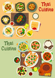 Thai cuisine icon set for tasty asian food design Royalty Free Stock Image