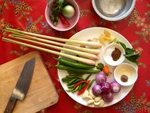 Thai cuisine: ingredients for making fresh green curry paste Stock Photos