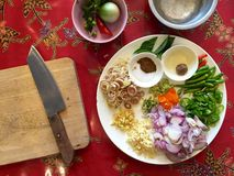 Thai cuisine: ingredients for making fresh green curry paste Royalty Free Stock Images