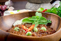 Thai cuisine nam prik or chili paste mixes Royalty Free Stock Image