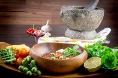 Thai cuisine nam prik or chili paste mixes Stock Photos