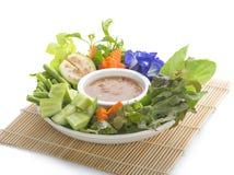 Thai cuisine nam prik or chili paste mixes with fish serves with stock photos