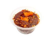 Thai cuisine nam prik or chili paste mixes with pork stock photos