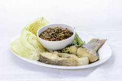 Thai cuisine nam prik or chili paste. With various vegetables with steamed fish ,isan thai food Royalty Free Stock Photos