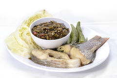 Thai cuisine nam prik or chili paste. With various vegetables with steamed fish ,isan thai food Stock Image