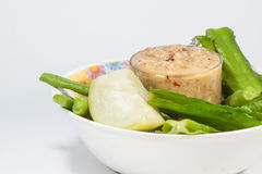 Thai cuisine nam prik or chilli paste mixes with fish. Serves with various vegetables Royalty Free Stock Photography
