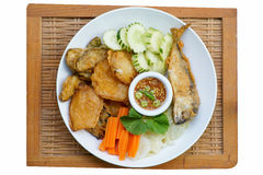 Thai cuisine-Nam Prik Gapi or Shrimp Paste Chili Dip. Serves with fried mackere fish and various vegetables Royalty Free Stock Images