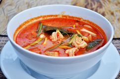 Thai cuisine name Tom yum goong is prawn and lemon grass soup with mushrooms Royalty Free Stock Image