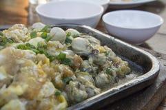 Thai cuisine oyster egg cook restaurant dish concept Stock Image