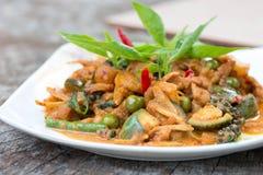 Thai cuisine - Pork with vegetables Royalty Free Stock Photos