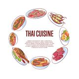Thai cuisine poster with asian dishes. Thai cuisine poster with famous asian dishes vector illustration. Restaurant menu cover wit tom yam soup, steamed rice Stock Photography