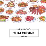 Thai cuisine poster with asian dishes. Thai cuisine poster with famous asian dishes. Tom yam soup, steamed rice, satay skewers, green curry, fish and crabs Stock Image