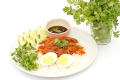 Thai cuisine red pork over rice with boiled egg Royalty Free Stock Images