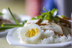 Thai Cuisine Red Pork Over Rice With Boiled Egg Royalty Free Stock Photography
