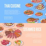 Thai cuisine restaurant flyers with asian dishes. Thai cuisine restaurant flyers with delicious asian dishes. Tom yam soup, steamed rice, satay skewers, green Stock Photography