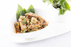 Thai cuisine spicy pork salad. Moo Nam Tok Stock Photo