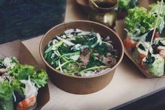 Thai cuisine, take away street food, tom yam soup Stock Images