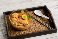Thai cuisine Tom Yum Goong with instant noodle Royalty Free Stock Images