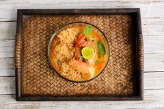 Thai cuisine Tom Yum Goong with instant noodle Stock Photo