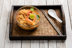 Thai cuisine Tom Yum Goong with instant noodle Royalty Free Stock Photography