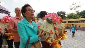 Thai Culture Buddhism Ordination Ceremony at temple, Bangkok Thailand. stock video
