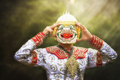 "Thai Culture Dancing art in masked ""Khon"" that high class Stock Photo"