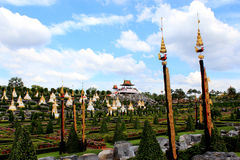 Thai culture in the modern garden Royalty Free Stock Photo