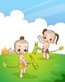 Thai culture play game. Traditional Thai Children are playing traditional Thai game Stock Photo