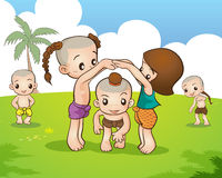 Thai culture play game. Traditional Thai Children are playing traditional Thai game Royalty Free Stock Image