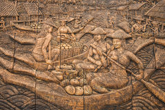 Free Thai Culture Stone Carving On Temple Wall Royalty Free Stock Photo - 62824275