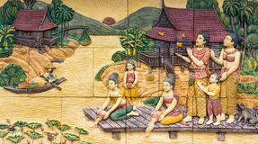 Thai culture stone carving Royalty Free Stock Photo