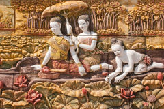 Thai culture stone carving Royalty Free Stock Photography