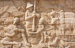 Thai culture stone carving Stock Photo