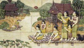 Thai culture stone carving Stock Photos