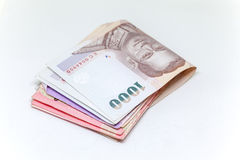 Thai currency in background and isolated Royalty Free Stock Photos