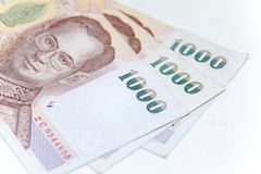 Thai currency in background and isolated Royalty Free Stock Photo