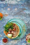 Thai curry meatballs noodle bowl Stock Image