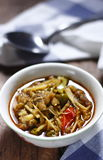 Thai curry of pork leg with mixed vegetables. In a small bowl on wooden table Royalty Free Stock Photos