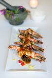 Thai cusine prawn with tamarind sauce. Deep fried prawn with Tamarind sauce stock photos