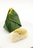 Thai custard with sticky rice - Thai dessert. Thai custard with sticky rice  on white background - Thai dessert Stock Photography