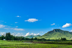 Thai Dam Cultural Village with landscape rice field mountain in Chiang Khan at Loei, Thailand. Thai Dam people migrated from Chiang Khwang Town, Laos in 1905 to royalty free stock photography