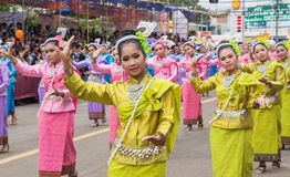 Thai dance in candle festival of Buddha Royalty Free Stock Photo