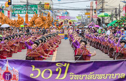 Thai dance in candle festival of Buddha Royalty Free Stock Images