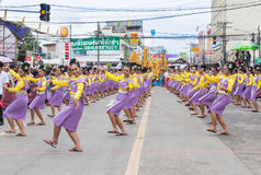 Thai dance in candle festival of Buddha Stock Photo