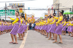 Thai dance in candle festival of Buddha Stock Images