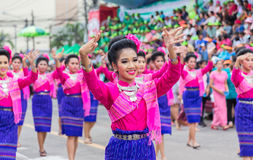 Thai dance in candle festival of Buddha Royalty Free Stock Photography