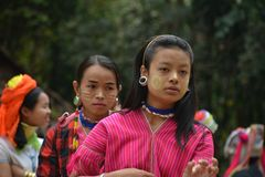 Thai dance preform by thai villagers stock photo