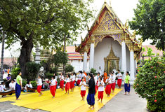 Thai Dance School. Bangkok, Thailand - December 19:  Some students with teachers learning Thai dancing outside of a famous temple in Bangkok on December 19, 2010 Stock Photography