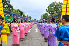 Thai dance at traditional candle procession festival of Buddha Stock Photo